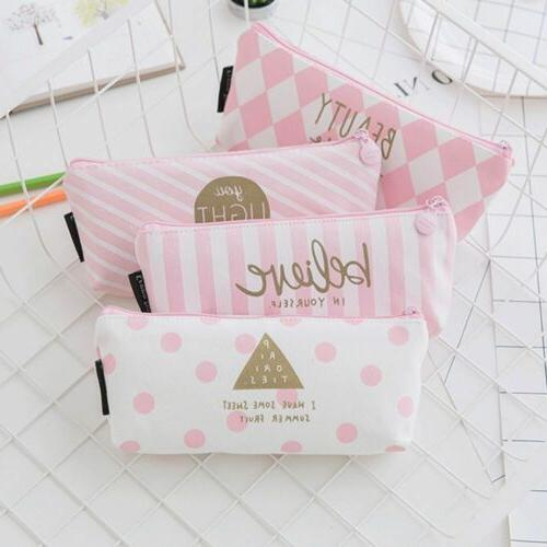 pink cute dot stripe pencil case letter