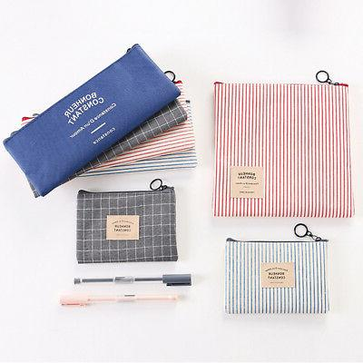 plaid pencil bag travel cosmetic makeup bag