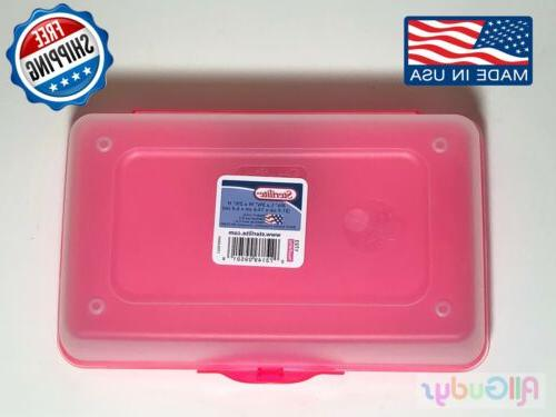 Plastic Box Kids Office Pen Craft PINK