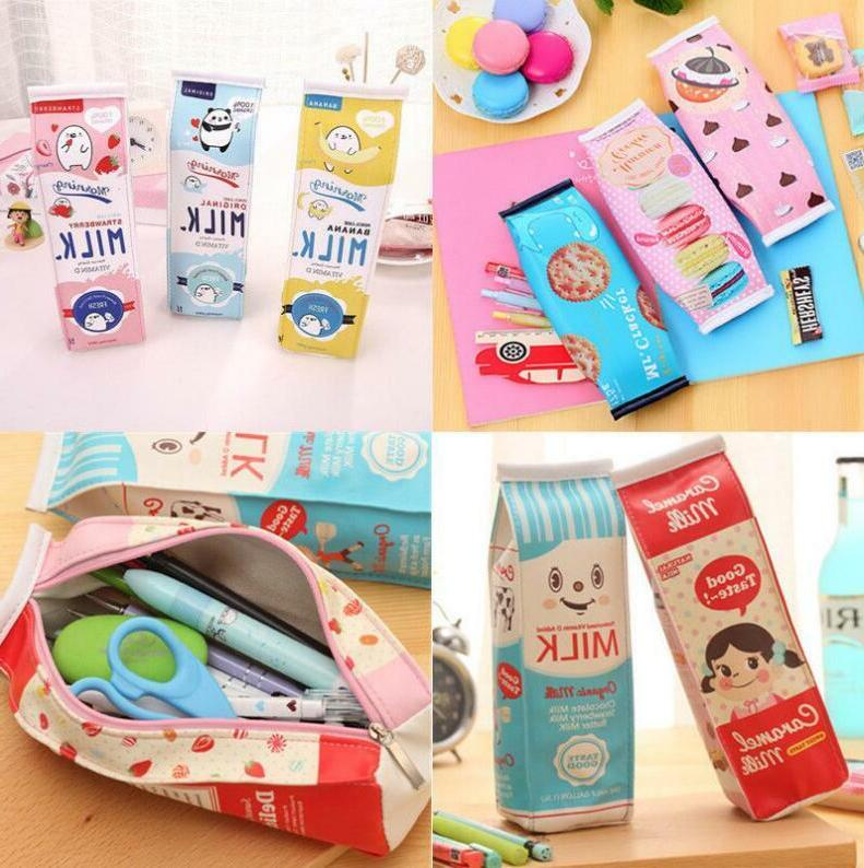 pu creative simulation milk cartons pencil case