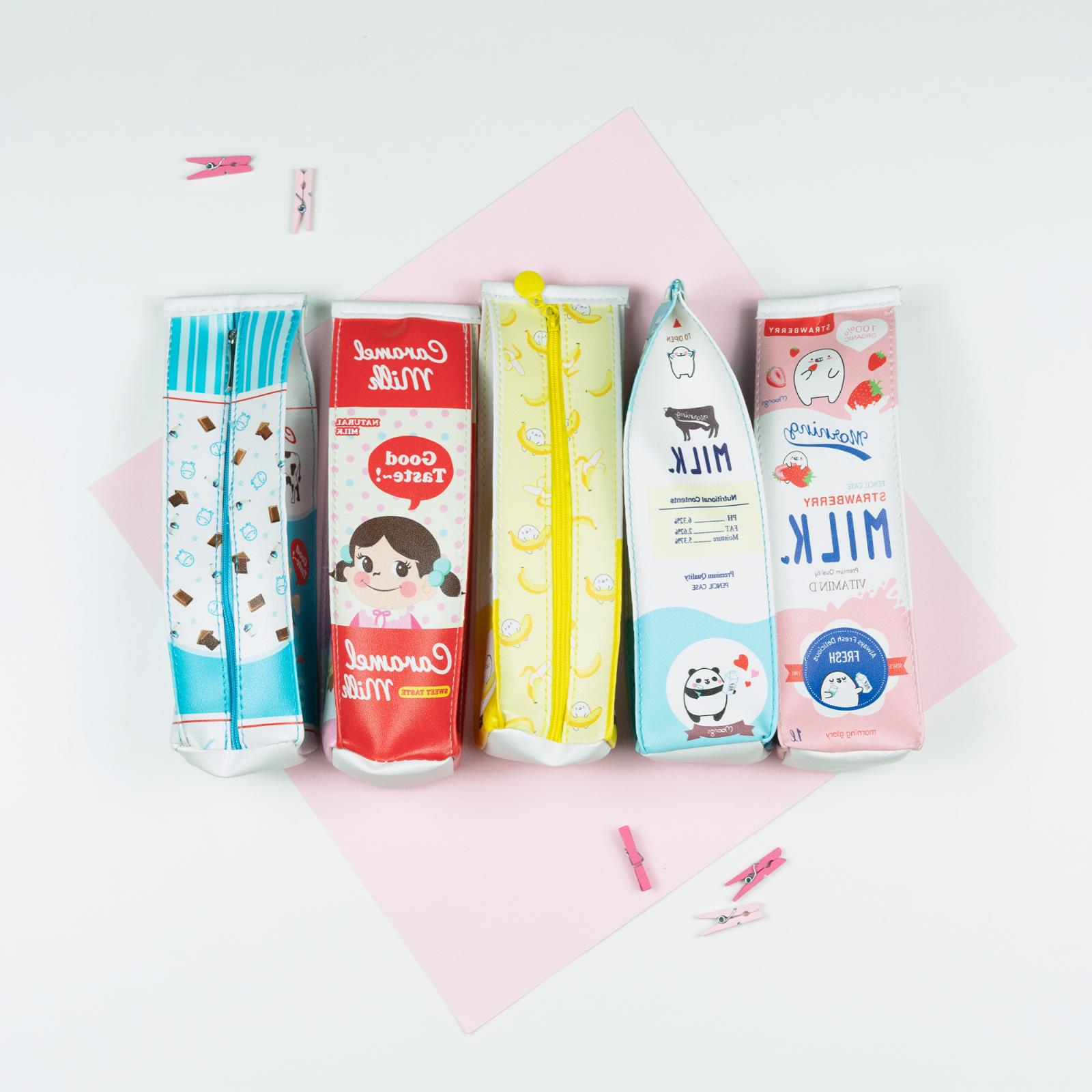 PU Milk Box Pencil Case | Cartoon Pouch PU leather