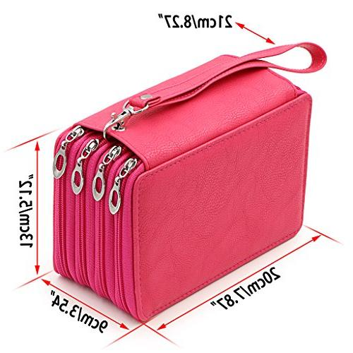 BTSKY PU Leather Pencil Case with Compartments-72 Slots Handy Pencil Large for Gel Pens and Ordinary