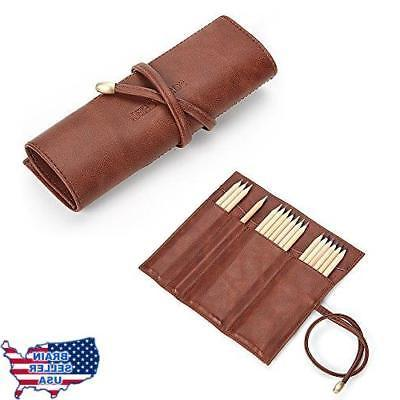 pu leather rollup pen bag