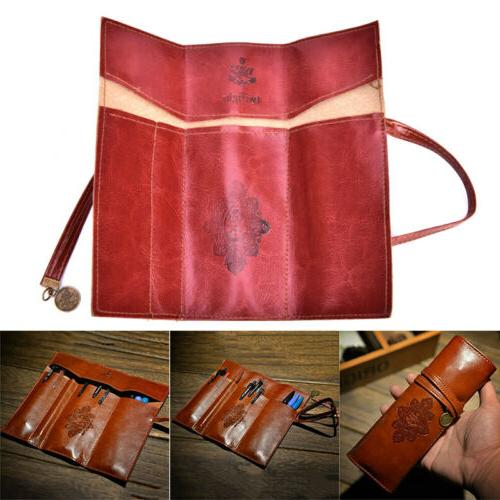 Retro Map Up Leather Pen Case Make Up EP