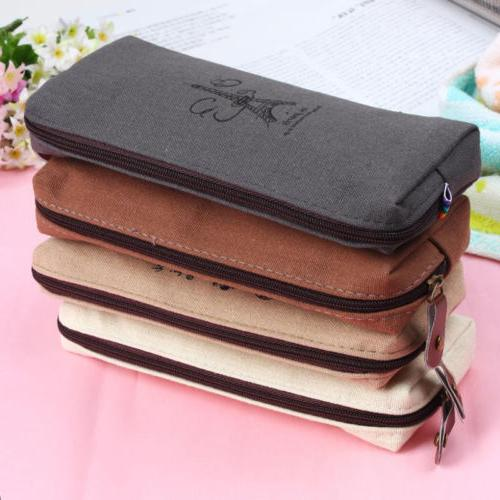 retro canvas pencil pen case cosmetic makeup