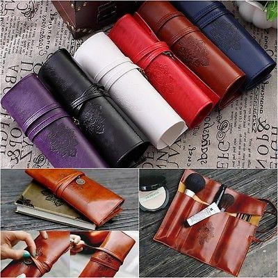 Retro Leather Roll Pen Pencil Case Make Up Cosmetic Brush Ho