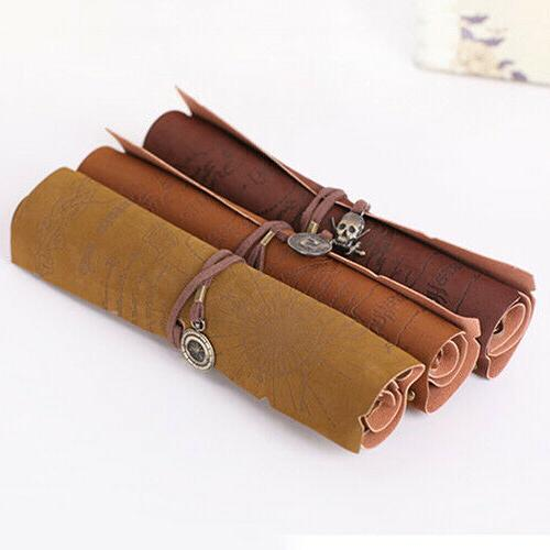 Retro Map Roll Leather Pen Bags Make Up
