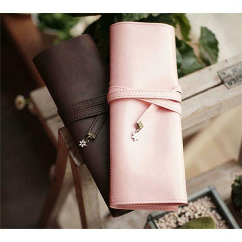 Roll Leather Pouch Organizer Case Cosmetic