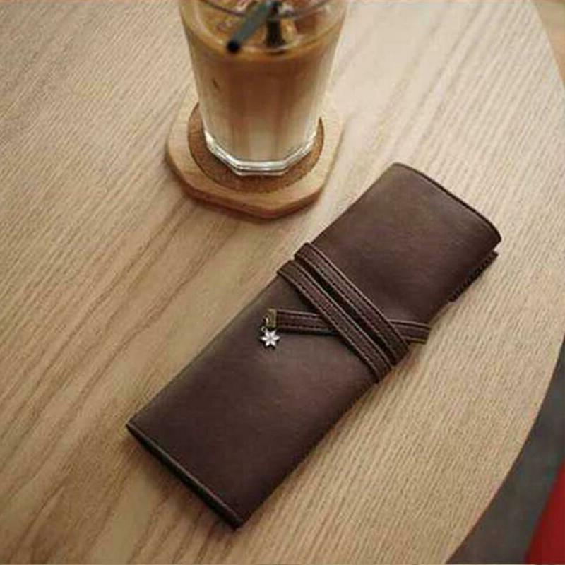 Roll Leather Organizer Case Cosmetic Bag