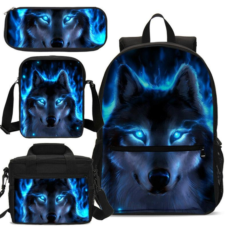 S/3 Cool Blue Wolf Boy School Backpack Insulated Lunch Bag P