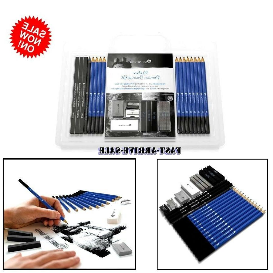 SET 26 PRO Drawing Sketching Pencil Set Kit Artist Art Graph