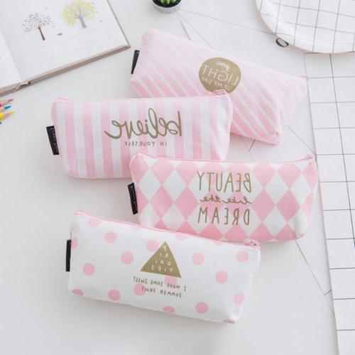 Simple Cute Pencil Case Pen Box Stationery Zipper Bag Storag