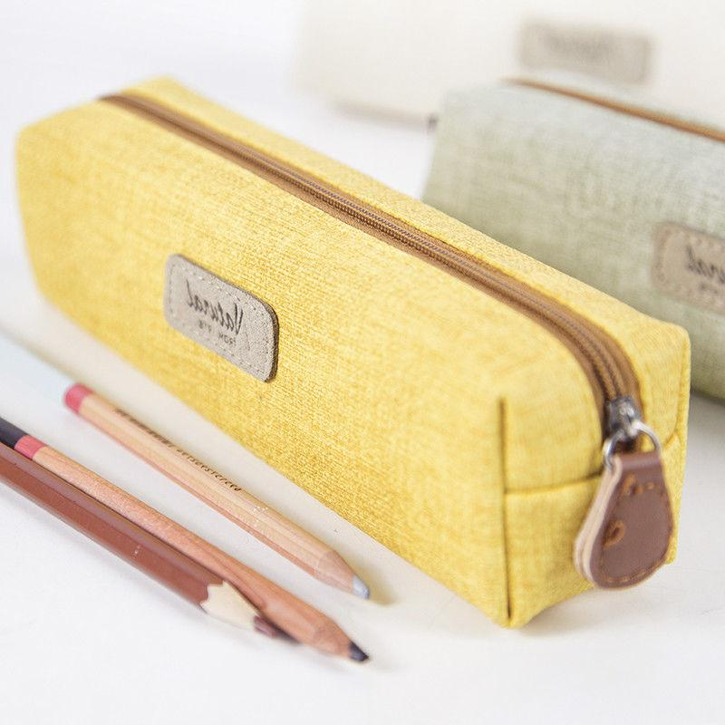 Simple Style Pencil Pen Cosmetic Pouch Brush Holder Bag