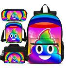 Smile Poop Emoji Big Backpack Insulated Lunch Bag Pencil Cas