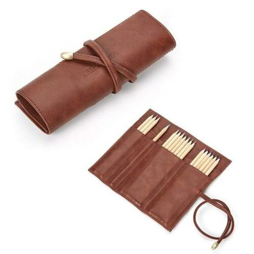 Soft Leather Rollup Pen Bag Pencil Case Storage Pouch Organi