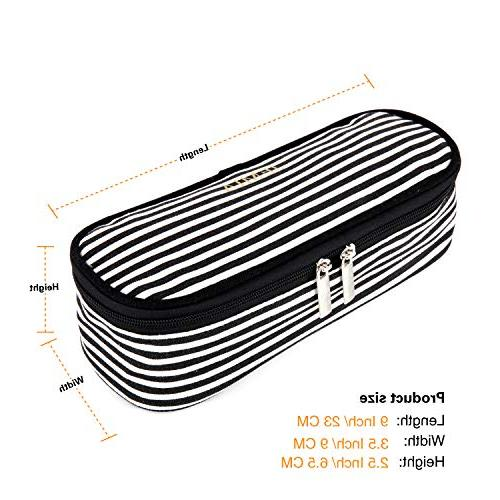 JEMIA Case Black and White Stripes, Pockets Compartment Hold in for Student; Boys, Men,