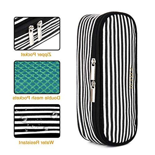 JEMIA Canvas Case Black White Pockets Within to Hold in Student; Men, Women,