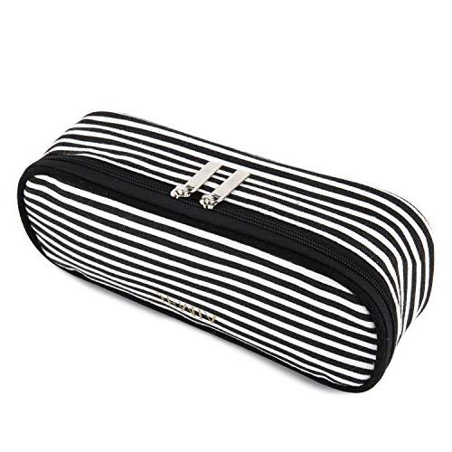 JEMIA - Canvas Pencil Case Black and White Pockets Hold Office Accessories in Oraganized Student; Kids, Men, Adults