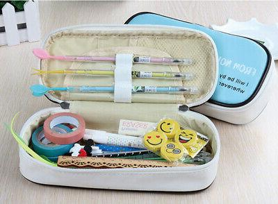 Student Canvas Pen Pencil Case Bag Makeup Zip