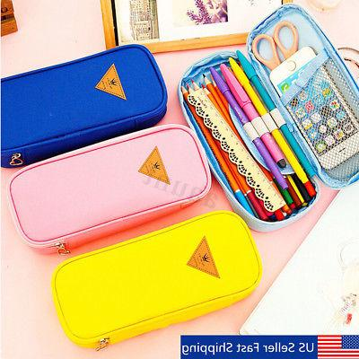 student canvas pencil case pen pocket cosmetic