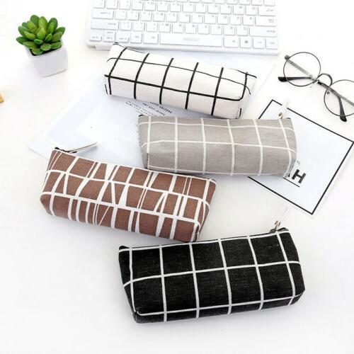 Chic Canvas Pen Box Pencil Bag Storage Pouch Stationery School Gift