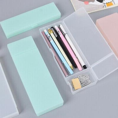 Transparent Plastic Pencil Case Pen Box Kids Gift Office Sch