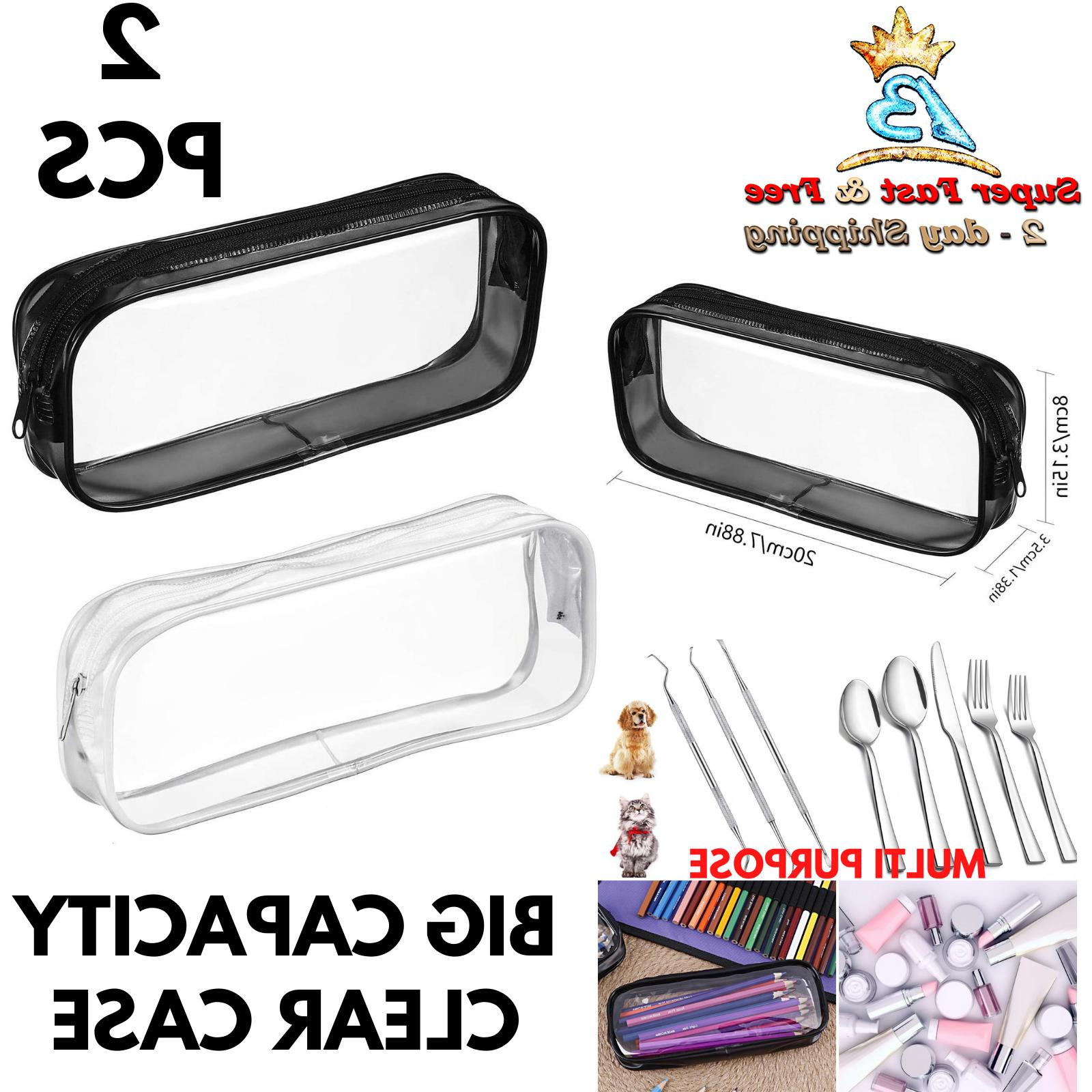Travel Toiletry Bag Clear Pencil Case Fork Container Pet Den
