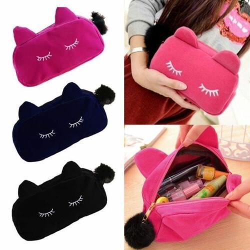 Velvet Flannel Cat Cosmetic Make up Bags Cute Cartoon Storag
