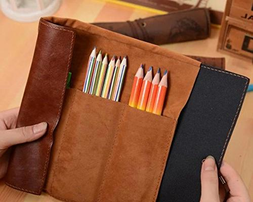 ANTIMAX Vintage Up Pencil Creative Map Matte Cover Pouch Art Cosmetic Pouch Pendant Business School of 4