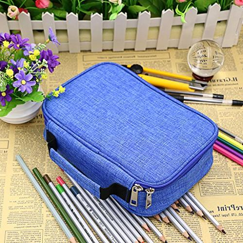 BTSKY High Capacity Pens Pencil Case- Multi-Functional Stationery Slots Colored Portable Pencil Bags 2