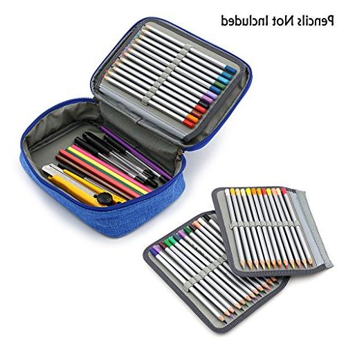 BTSKY High Capacity Stationery Slots Portable Pencil Bags With 2 Sleeves