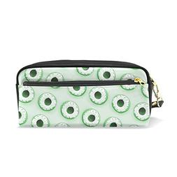La Random Green Donuts Pencil Case PU Leather Large Capacity