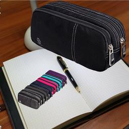 Large Pencil Case with Double  Zipper Compartments for Adult