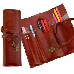 Leather Pen Bag Pencil Case Pouch Vintage Rollup Pencil Bag