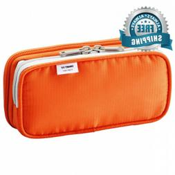 LIHIT LAB. Double Pen Case, Orange, 3.3 x 6.9""