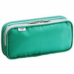 "LIHIT LAB. Double Pen Case L size, Green, 4.1 x 8.7"" , New,"