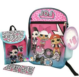 "LOL Surprise 16"" Backpack 5pc Set with Lunch Kit, Bottle, Pe"