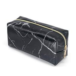 Marble Pattern Women Cosmetic Makeup Bag Organizer with Gold