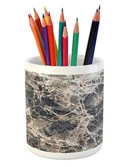 Ambesonne Marble Pencil Pen Holder, Ceramic Style Grunge Scr