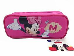 Disney Minnie Mouse Pink Pencil Case Zippered Canvas Pouch B