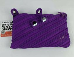 ZIPIT Monster Pencil Case, Purple Pencil Pouch with Binder 3