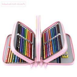 YOUSHARES Multi-layer 72-Slot Zipper Pencil Case with Handle