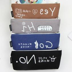 Multifunction Canvas Pen Box Pencil Case Bag Storage Pouch S