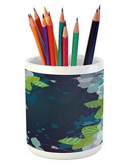Ambesonne Navy Pencil Pen Holder, Sketchy Abstract Blossoms