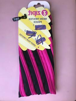 ZIPIT Neon pink and black  Twister multipurpose Pouch, penci