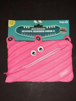 New ZIPIT Pink Zipsters Monster 3 Ring Binder Pencil Case Sc