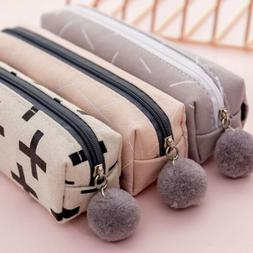 Cute Girls Canvas Plush Ball Pencil Case Cosmetic Bag Statio