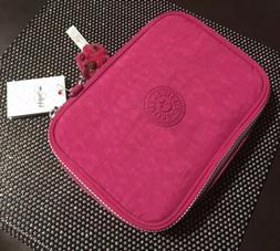 NWT Kipling 100 Pens Case Nylon Monkey Pink Very Berry Penci