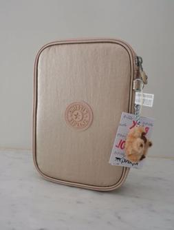 NWT Kipling 100 Pens Pencil Case Cosmetic Pouch Sparkle Gold