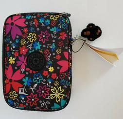 NWT Kipling 100 Pens Pencil Case Large Cosmetic Pouch Floral